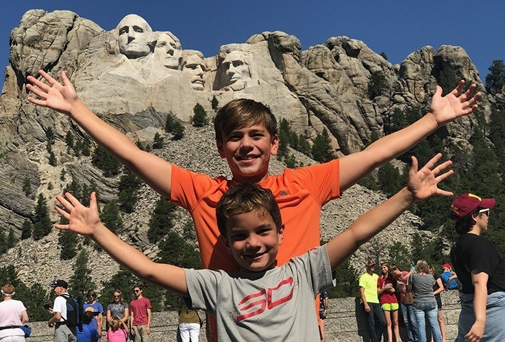 Dr. Gessford's sons at Mount Rushmore