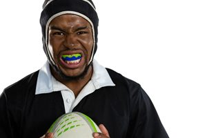 rugby player with mouthguard in Lincoln
