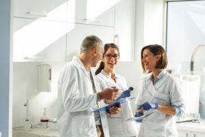 team of dentists talking